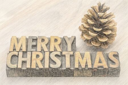 Merry Christmas  greeting card - word abstract  in vintage letterpress wood type with a pine cone, a digital painitng filter applied