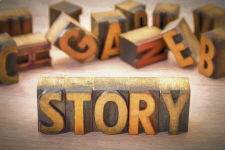 story word  abstract  in vintage letterpress wood type blocks with a digital painting filter applied Stock fotó