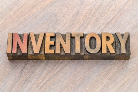 inventory word abstract in vintage letterpresss wood type 스톡 콘텐츠