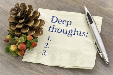 Deep thoughts list  - handwriting on a napkin with a pine cone Imagens