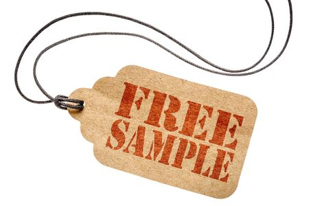 free sample sign  - a paper price tag with twine isolated on white- shopping concept