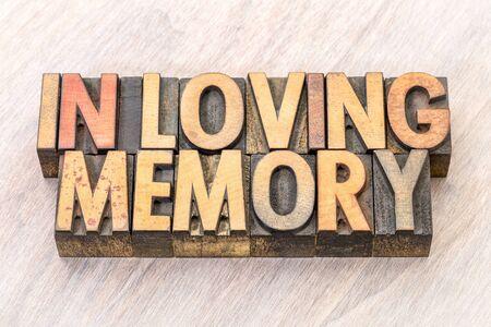 In loving memory word abstract in vintage letterpress wood type Stock fotó