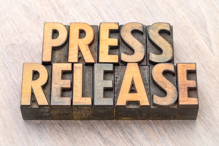 press release word abstract in vintage letterpress wood type