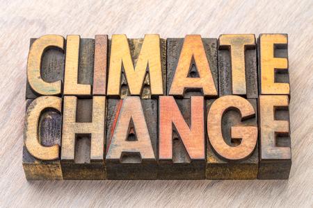 climate change concept - words in vintage wooden letterpress printing blocks