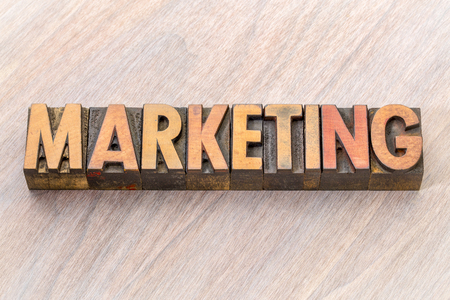 marketing word abstract in vintage lettepress wood type
