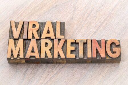 viral marketing word abstract in vintage letterpresss wood type printing blocks