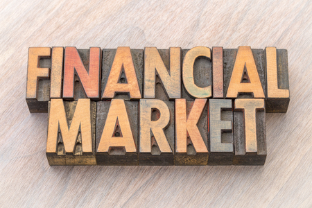 Financial market word abstract in vintage letterpress wood type