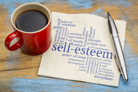 self-esteem word cloud - handwriting on a napkin with cup of coffee Stock fotó