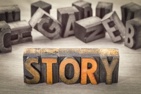 story word  abstract - text in vintage letterpress wood type blocks, color combined with black and white image