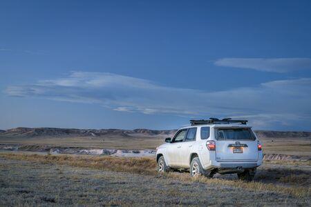 Nunn, CO, USA - January 9, 2018: Toyota 4Runner SUV (2016 Trail edition) on a dirt road in Pawnee National Grassland in northern Colorado. Editorial