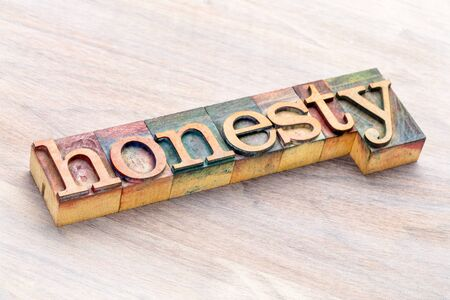 honesty word abstract in  letterpress wood type printing blocks stained by color inks Stock Photo