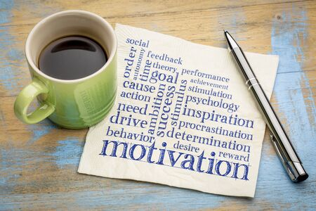 Motivation word cloud - handwriting on a napkin with a cup of espresso coffee Standard-Bild