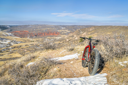 fat bike on desert trail (Cheyenne Rim) in  Red Mountain Open Space north of Fort Collins, Colorado Stock Photo