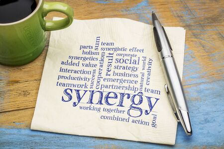 synergy word cloud - handwriting on a napkin with a cup of coffee
