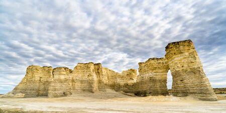 panorama of Monument Rocks  (Chalk Pyramids) in western Kansas Stock Photo