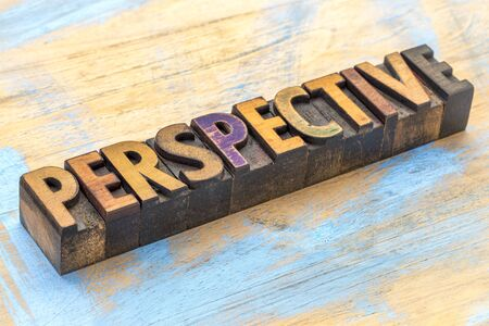 Perspective - word abstract in vintage letterpress wood type