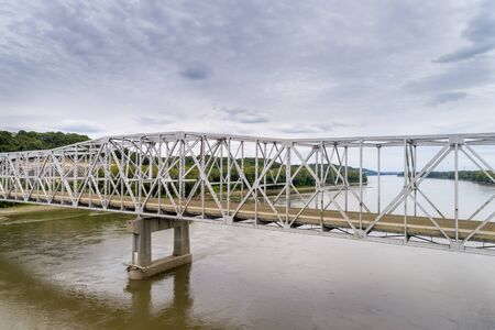 Missouri River bridge and I-70 highway near Rocheport, MO (Taylors Landing) - aerial view