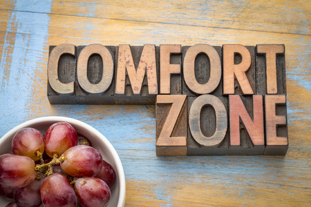 comfort zone - word abstract in vintage letterpress wood type with grapes