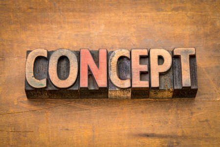 concept word abstract in vintage letterpress wood type Banco de Imagens