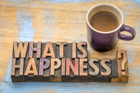 What is happiness question - word abstract in vintage letterpress wood type printing blocks with a cup of coffee
