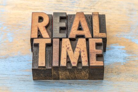 real time -  word abstract in vintage letterpress wood type