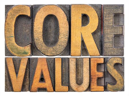 core values  banner  -  isolated word abstract in vintage letterpress wood type blocks stained by color inks Stock Photo