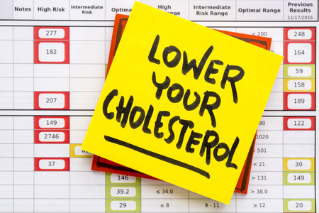 lower your cholesterol note against results from the blood screening with red flags