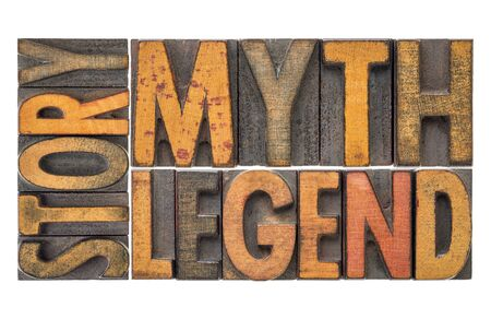 story, myth, legend - isolated word abstract in vintage letterpress wood type block stained by color inks Stock Photo