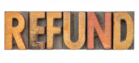 refund - isolated word abstract in vintage letterpress wood type Stock Photo - 99377600