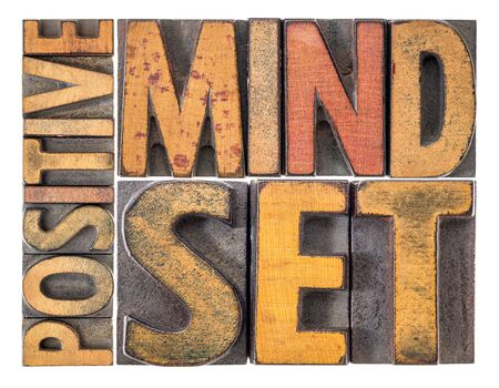 positive mindset - isolated word abstract in vintage letterpress wood type