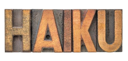 haiku  - a very short form of Japanese poetry - isolated word abstract in vintage letterpress printing blocks Stockfoto