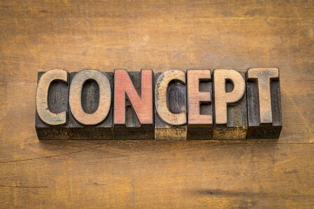 concept word abstract in vintage letterpress wood type Stock Photo