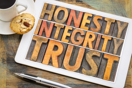 honesty, integrity, trust concept - word abstract in vintage letterpress wood type blocks on a digital tablet with a cup of coffee