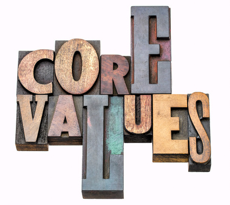 core values - isolated word abstract in vintage letterpress wood type, mixed fonts Stock Photo