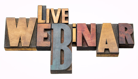 live webinar - isolated word abstract in vintage letterpress wood type, mixed fonts