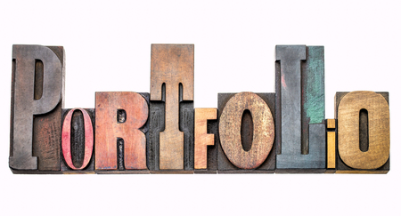 portfolio  - isolated word abstract in vintage letterpress wood type, mixed fonts