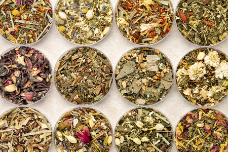 set of twelve herbal blend Chinese tea in round bowls (Petri dish), top view on a ceramic tile