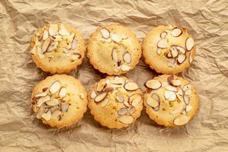 set of French almond cookies on wrinkled brown paper
