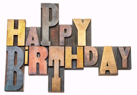 Happy Birthday greeting card - isolated word abstract in vintage letterpress wood type Stock Photo - 102056720