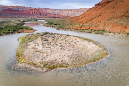 Aerial view of Colorado River at Rocky Rapid above Moab, Utah Stock Photo - 102148416