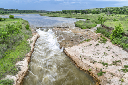 Norden Chute on Niobrara River in Nebraska, aerial view in springtime scenery Stock Photo