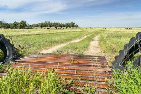 farm road and cattle guard in rural Nebraska Stock Photo