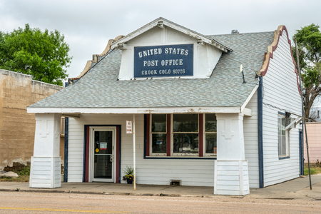 Crook, CO, USA - May 28, 2018: US Post Office in a small rural town in eastern Colorado.