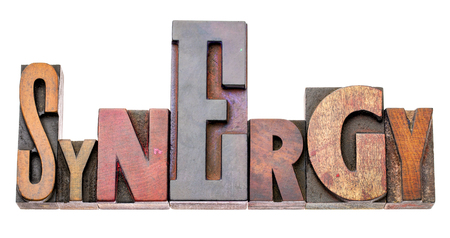 synergy - isolated word abstract in vintage letterpress wood type, mixed fonts Stock Photo