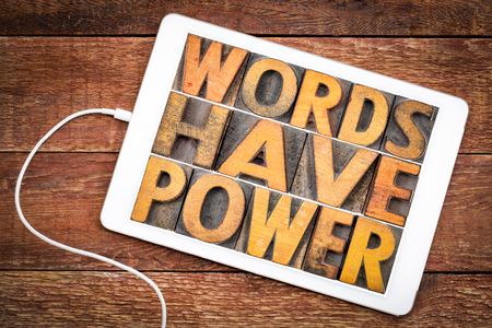 words have power message in vintage letterpress wood type on a digital tablet Stock Photo - 102940728