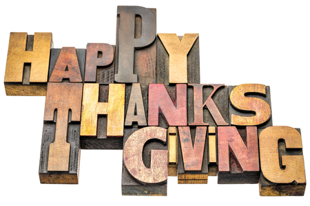 Happy Thanksgiving  - isolated word abstract in vintage wood letterpress printing blocks, mixed fonts Stock Photo