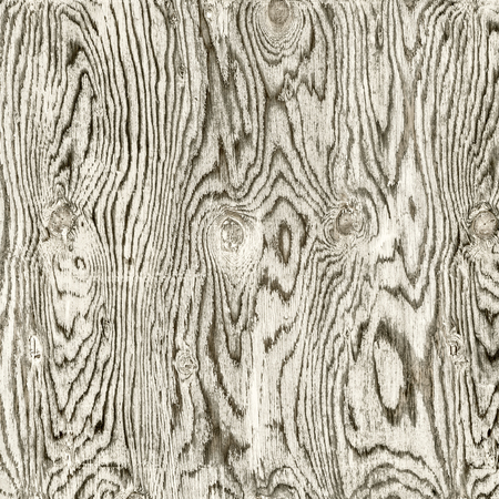 texture of weathered, white painted plywood with grain patterns and knots, black and white image