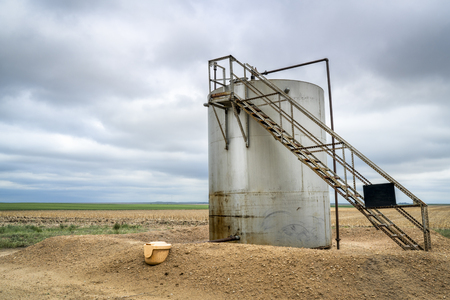 Gas and oil production facilities in eastern Colorado - a collecting tank