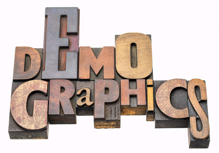 demographics - isolated word abstract in vintage letterpress wood type blocks, mixed fonts Stock Photo - 103051158