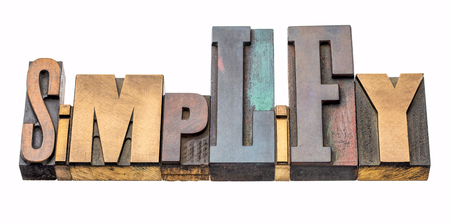 simplify  - isolated word abstract in vintage letterpress wood type blocks, mixed fonts Stock Photo